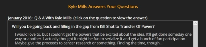 Kyle Mills January 2016 Q&A